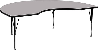 Flash Furniture 48''W x 72''L Kidney Shaped Activity Table with Thermal Fused Top and Height Adjustable Pre-School Legs, Grey