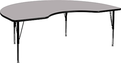 Flash Furniture 48''W x 96''L Kidney Shaped Activity Table with Thermal Fused Top and Height Adjustable Pre-School Legs, Grey