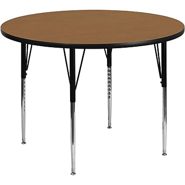 Flash Furniture 48'' Round Activity Table with Thermal Fused Laminate Top and Standard Height Adjustable Legs, Oak