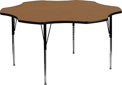 Flash Furniture 60'' Flower Shaped Activity Table with Thermal Fused Laminate Top and Standard Height Adjustable Legs, Oak