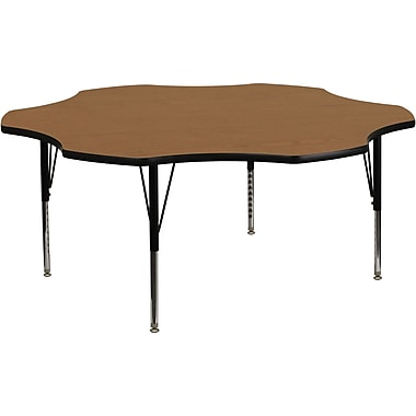 Flash Furniture 60'' Flower Shaped Activity Table with Thermal Fused Laminate Top and Height Adjustable Pre-School Legs, Oak