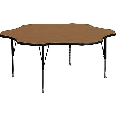 Flash Furniture – Table d'activités fleur de 60 po à surface en stratifié thermofusionné et pattes préscolaires réglables, chêne