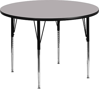 Flash Furniture 60'' Round Activity Table with Thermal Fused Laminate Top and Standard Height Adjustable Legs, Grey