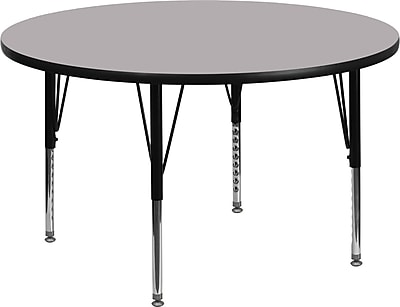 Flash Furniture 60'' Round Activity Table with Thermal Fused Laminate Top and Height Adjustable Pre-School Legs, Grey