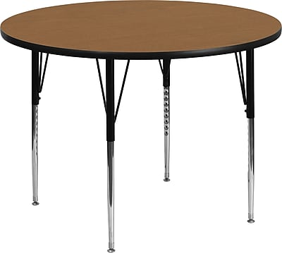 Flash Furniture 60'' Round Activity Table with Thermal Fused Laminate Top and Standard Height Adjustable Legs, Oak