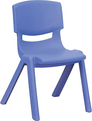 Flash Furniture Plastic Stackable School Chair with 12'' Seat Height, Blue