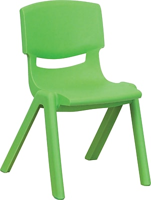 Flash Furniture Plastic Stackable School Chair with 12'' Seat Height, Green, 4/Pack