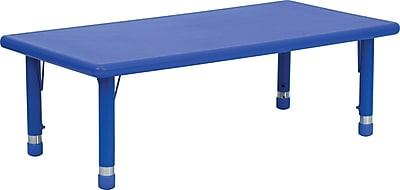 Flash Furniture 24''W x 48''L Height Adjustable Rectangular Plastic Activity Table, Blue