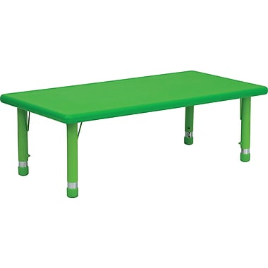 Flash Furniture 24''W x 48''L Height Adjustable Rectangular Plastic Activity Table, Green