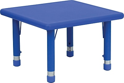 Flash Furniture 24'' Square Height Adjustable Plastic Activity Table, Blue