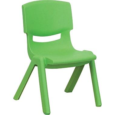 Flash Furniture – Chaise d'école empilable en plastique avec siège à hauteur de 10,5 po, vert, 4/paquet