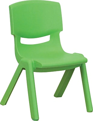 Flash Furniture Plastic Stackable School Chair with 10.5'' Seat Height, Green, 4/Pack