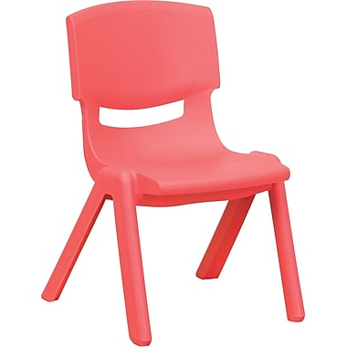 Flash Furniture Plastic Stackable School Chair with 10.5'' Seat Height, Red, 4/Pack