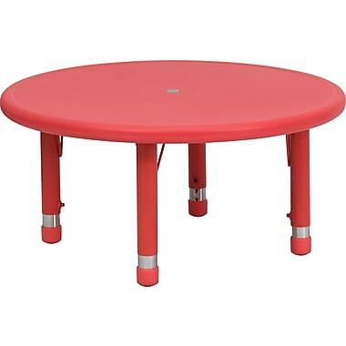 Flash Furniture – Table d'activités ronde en plastique à hauteur ajustable de 33 po, rouge