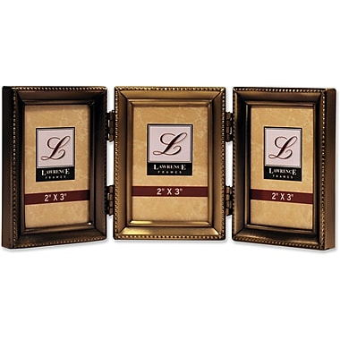 Antique Gold Brass Hinged Triple 2x3 Picture Frame - Beaded Edge Design