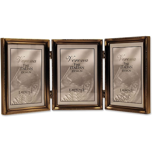 11435t Antique Gold Bead 35x5 Hinged Triple Picture Frame Staples