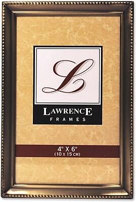 Antique Brass 4x6 Picture Frame - Bead Border Design