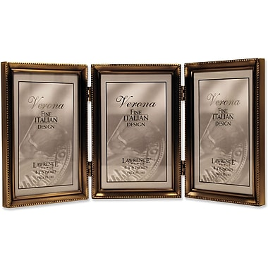 Antique Brass 4x6 Hinged Triple Picture Frame - Bead Border Design