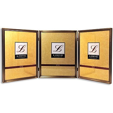 11480T Antique Gold Bead 8x10 Hinged Triple Picture Frame