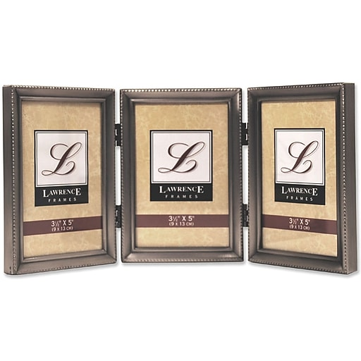 Lawrence Frames 3 X 5 Metal Pewter Hinged Triple Picture Frame