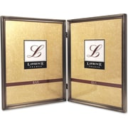 "Lawrence Frames 8"" x 10"" Metal Pewter Hinged Double Picture Frame (11580D)"