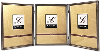 Lawrence Frames 8 X 10 Metal Pewter Hinged Triple Picture Frame