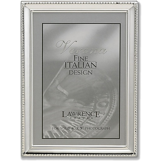 Lawrence Frames Verona Collection 4 X 5 Metal Silver Picture Frame