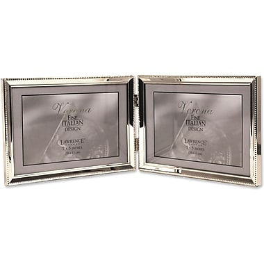 Polished Silver Plate 5x7 Hinged Double Horizontal - Bead Border Design