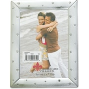 Brushed Silver 5x7 Metal Picture Frame Decorated with Crystals