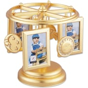 Wind Up Musical Carousel Picture Frame - Gold Sun, Moon, and Stars Design - Holds 6 2x3 Photos