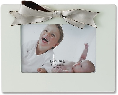4x6 Ivory Wood Picture Frame with Ivory and Brown Ribbon