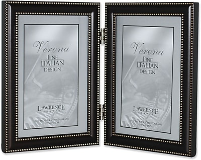 4x6 Hinged Double (Vertical) Metal Picture Frame Oil Rubbed Bronze with Delicate Beading