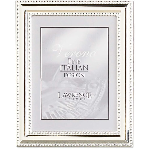 4x5 Metal Picture Frame Silver Plate With Delicate Beading Staples