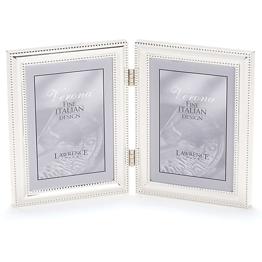 Lawrence Frames Verona Collection 4 X 5 Metal Silver Hinged Double