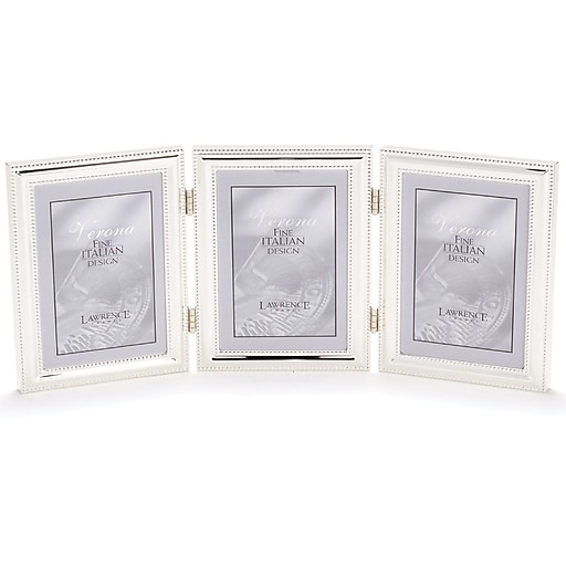 510745t Silver Plated Double Bead 4x5 Hinged Triple Picture Frame
