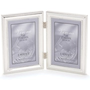 4x6 Hinged Double (Vertical) Metal Picture Frame Silver-Plate with Delicate Beading