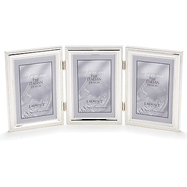 4x6 Hinged Triple (Vertical) Metal Picture Frame Silver-Plate with Delicate Beading