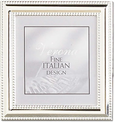 5x5 Metal Picture Frame Silver-Plate with Delicate Beading