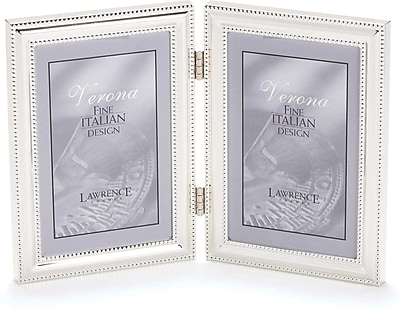 5x7 Hinged Double (Vertical) Metal Picture Frame Silver-Plate with Delicate Beading