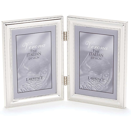 5x7 Hinged Double Vertical Metal Picture Frame Silver Plate With