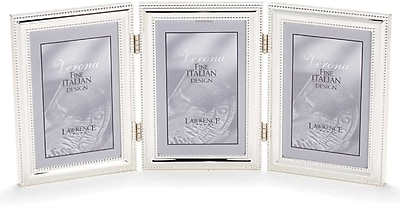 5x7 Hinged Triple (Vertical) Metal Picture Frame Silver-Plate with Delicate Beading