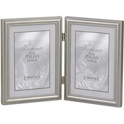 """Lawrence Frames Verona Collection 5"""" x 7"""" Metal Pewter Hinged Double Picture Frame (510957D)"""
