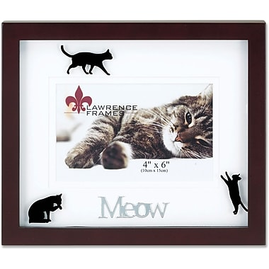 Walnut Wood 4x6 Meow Picture Frame - Matted Shadow Box Cat Frame