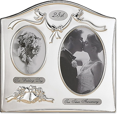 Lawrence Frames Sentiments Collection Metal 25th Anniversary Double Opening Picture Frame (590043)