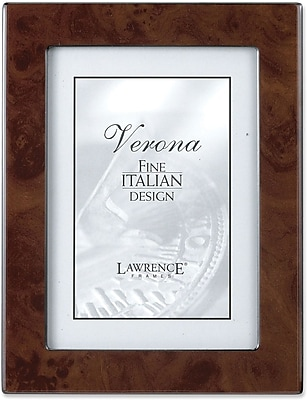 Walnut Faux Burl 4x6 Picture Frame - Polished Lustrous Finish With Sides Finished In Black