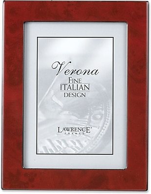 Burgundy Faux Burl 5x7 Picture Frame - Polished Lustrous Finish With Sides Finished In Black
