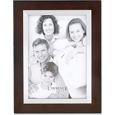 Walnut Wood 5x7 with Silver Metal Inner Bezel Picture Frame