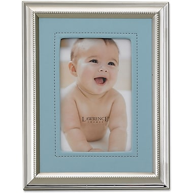 Silver Plated 5x7 Metal Picture Frame - Blue Faux Leather Mat