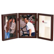 5x7 Hinged Triple Walnut Wood Picture Frame - Gallery Collection
