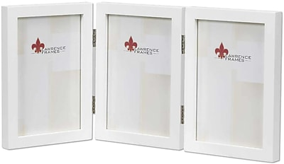 5x7 Hinged Triple White Wood Picture Frame - Gallery Collection